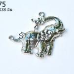จี้รูปช้าง สีโรเดียม 35X38 มิล (1ชิ้น)