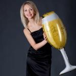 ลูกโป่งฟอยล์รูปแก้วไวน์ แก้วแชมเปญ ไซส์ 92*40 cm. - A Glass of Champagne Shape Foil Balloon / TL-D070
