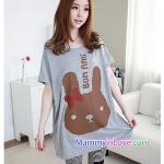 เสื้อคลุมท้องแขนสั้น ลายกระต่ายติดโบว์ : สีเทา รหัส SH017