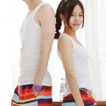 PRE กางเกงขาสั้นคู่รัก Couple beach pant ลายทางสลับสีรุ้งสวย