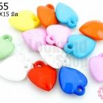 จี้พลาสติก สีขุ่น หัวใจ คละสี 12X15มิล(1ขีด)