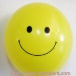 """ลูกโป่งกลมพิมพ์ลาย หน้ายิ้ม สีเหลือง ไซส์ 12 นิ้ว แพ็คละ 10 ใบ (Round Balloons 12"""" - Smiley Face Printing latex balloons)"""