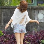 พร้อมส่ง ** กางเกงขาสั้น Spring Blossom Flower pant