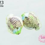 ลูกปัดกังไส รูปปลา สีม่วง 20 mm (1ชิ้น)