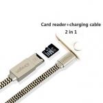 สายชาร์ด + Card Reader 2 in 1 iUSBPro Lightning USB Card Reader Cable แฟลชไดร์ฟสำรองข้อมูลสำหรับ iPhone,IPad