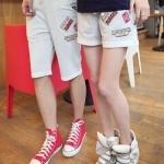 กางเกงคู่รัก ชาย + หญิงกางเกงขาสั้น เอวยางยืด สีขาวออกเทา +พร้อมส่ง+