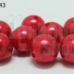 ลูกปัดมุก พลาสติก สีแดง 14มิล (1ขีด/100กรัม)