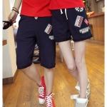 กางเกงคู่รัก ชาย + หญิงกางเกงขาสั้น เอวยางยืด สีกรม +พร้อมส่ง+