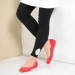 PK089 กางเกงเลกกิ้งคนท้อง โทนสีดำ ปลายขาปักโคเช เนื้อผ้านิ่ม ใส่สบาย เอวสามารถเลื่อนได้ตามอายุครรภ์