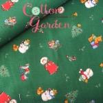 คอตตอนญี่ปุ่นลาย สีเขียวเข้ม ลายคริสต์มาส ของ Lecien