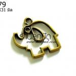จี้รูปช้าง สีทองเหลือง 35X31 มิล (1ชิ้น)