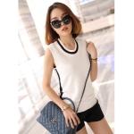 เสื้อผ้าแฟชั่นสไตส์เกาหลี เสื้อแขนกุด สีขาว แต่งแถบคอสีดำ +พร้อมส่ง+