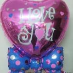 ลูกโป่งฟลอย์รูปหัวใจชมพูใหญ่ผูกโบว์ พิมพ์ลาย I LOVE YOU ไซส์ 32 นิ้ว - I Love You Big Heart Shape Foil Balloon / TL-E013