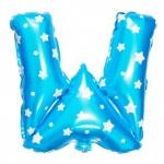 """ลูกโป่งฟอยล์รูปตัวอักษร W สีฟ้าพิมพ์ลายดาว ไซส์เล็ก 14 นิ้ว - W Letter Shape Foil Balloon Size 14"""" Blue color printing Star"""