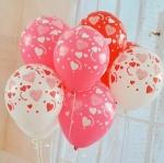 """ลูกโป่งกลมสีขาว พิมพ์ลายหัวใจ สีแดง รอบใบ ไซส์ 12 นิ้ว แพ็คละ 10 ใบ (Round Balloons 12"""" - Printing Heart red on latex White balloons)"""