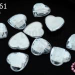 เพชรแต่ง หัวใจ สีขาว ไม่มีรู 14มิล(10ชิ้น)