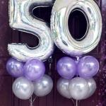 """ลูกโป่งฟอยล์รูปตัวเลข 5 สีเงิน ไซส์จัมโบ้ 40 นิ้ว - Number 5 Shape Foil Balloon Size 40"""" Silver Color"""