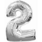 """ลูกโป่งฟอยล์รูปตัวเลข 2 สีเงิน ไซส์จัมโบ้ 40 นิ้ว - Number 2 Shape Foil Balloon Size 40"""" Silver Color"""