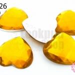 เพชรแต่ง หัวใจ สีเหลืองทอง ไม่มีรู 25มิล(10ชิ้น)