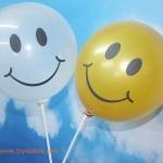 """ลูกโป่งกลมพิมพ์ลายหน้ายิ้ม ไซส์ 12 นิ้ว แพ็คละ 10 ใบ สีใส (Round Balloons 12"""" - Printing Smiley latex balloons clear color)"""