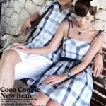 ชุดคู่รักพรีเวดดิ้ง Pre Wedding ชายเสื้อเชิ๊ต + หญิงเป็นชุดแซกสายเดี่ยว ลายสก๊อต +พร้อมส่ง+