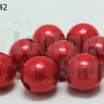 ลูกปัดมุก พลาสติก สีแดง 12มิล (1ขีด/100กรัม)