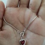 สร้อยคอพร้อมจี้หัวใจสีแดง น่ารัก เงินแท้ 92.5% ยาว 16 นิ้ว