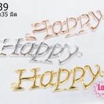 จี้หินนำโชค Happy สีทอง, สีเงิน, สีทองแดง 12x35 มิล (3ชิ้น)