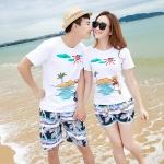 เสื้อคู่รัก ชุดคู่รักเที่ยวทะเลชาย +หญิง เสื้อยืดสีขาวลายเกาะทะเล กางเกงขาสั้นโทนสีกรมม่วง +พร้อมส่ง+
