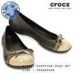 W6 (23 cm.) : Crocs Women's Cap Toe Bow Flat - Espresso / Gold ของแท้ Outlet ไทยและอเมริกา