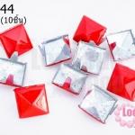 เป็กติดเสื้อ ทรงสี่เหลี่ยม สีแดง 12 มิล(10ชิ้น)