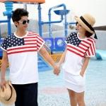 ชุดคู่ เสื้อคู่รัก ชายเสื้อยืด + หญิงเดรสจั้มเอว สีขาว แต่งลายธงชาติอเมริกา +พร้อมส่ง+