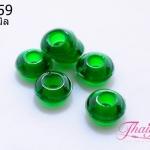 ลูกปัดแก้วมูราโน่ ทรงจานบิน สีเขียวใส 14x 6 มิล(1ชิ้น)