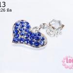 ตัวแต่งโรเดียมชุบเงิน รูปหัวใจ เพชรสีน้ำเงิน 17X26 มิล (1ชิ้น)