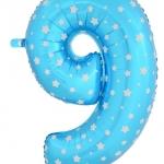 """ลูกโป่งฟอยล์รูปตัวเลข 9 สีฟ้าพิมพ์ลายดาว ไซส์จัมโบ้ 40 นิ้ว - Number 9 Shape Foil Balloon Size 40"""" Blue Color printing Star"""