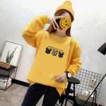 เสื้อแขนยาวแฟชั่นพร้อมส่ง เสื้อแขนยาวสีเหลือง แต่งสกรีน เสื้อตัวเล็ก +พร้อมส่ง+