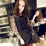 (หมดจ้า) ชุดเดรสเกาหลีสีดำ แขนยาวลายเสือ แต่งโบว์ด้านหน้าน่ารักมากๆ