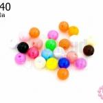 ลูกปัดพลาสติก สีขุ่น กลม คละสี 6มิล(1ขีด/1,040เม็ด)
