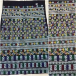 ผ้าปักลายกางเกง ปักละเอียดโทนสีฟ้า