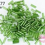 ลูกปัดจีน ปล้องยาว สีเขียว 2X7มิล (5กรัม)