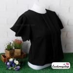 เสื้อผ้าแฟชั่น เสื้อทำงาน ผ้าฮานาโกะ สีดำ แบบสวยเรียบหรู แต่งระบายแขนสวยพริ้ว แบบสวยเรียบร้อย เหมาะกับทุกโอกาส