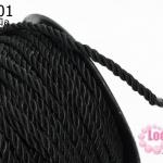 เชือกเกลียว สีดำ ขนาด 4 มิล (1หลา/90ซม)