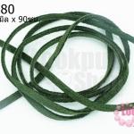 หนังแบนชามุด สีเขียวแก่ 3มิลX90ซม.(1เส้น)
