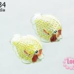 ลูกปัดกังไส รูปปลา สีเหลือง-ขาว 20 mm. (1ชิ้น)
