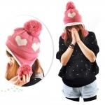 หมวกไหมพรมแฟชั่นเกาหลีพร้อมส่ง ทรงดีไซต์เก๋ หมวกสีชมพู ทรงปิดหู ลายหัวใจสีขาว มีจุก