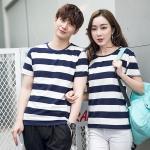 +พร้อมส่ง+ เสื้อคู่รักเกาหลี แฟชั่นคู่รัก ชายหญิง เสื้อยืดคอกลม ลายริ้วใหญ่ สีน้ำเงินสลับขาว