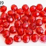 ลูกปัดพลาสติก กลมเจียร สีแดง 8มิล(1ขีด/460เม็ด)