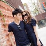 +พร้อมส่ง+ เสื้อคู่รักเกาหลี แฟชั่นคู่รัก ชายเสื้อยืดแขนสั้น + หญิงเดรสแขนสั้น สีกรม