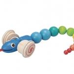 ของเล่นไม้ ของเล่นเด็ก ของเล่นเสริมพัฒนาการ Pull-Along Snake (ส่งฟรี)