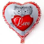 ลูกโป่งฟลอย์รูปหัวใจ พิมพ์ลายหมี LOVE ไซส์ 18 นิ้ว - Bear Love Heart Shape Foil Balloon / Item No. TL-E006
